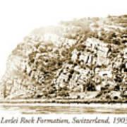 Lorelei Rock Formation, Switzerland, 1903 Art Print