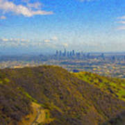 Los Angeles Ca Skyline Runyon Canyon Hiking Trail Art Print