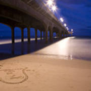 Love Heart In The Sand At Boscombe Pier Art Print