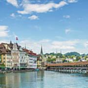 Lucerne Chapel Bridge And Water Tower - Panoramic Art Print