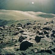 Lunar Rover At Rim Of Camelot Crater Art Print