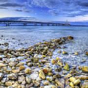 Mackinac Bridge From The Beach Art Print
