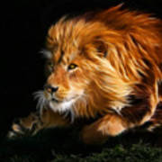 Male Lion Fractal Art Print by Julie L Hoddinott