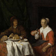 Man And Woman At A Meal Art Print