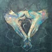 Manipura - Solar Plexus 'blue Hand' Chakra Mudra Art Print