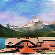 Many Glacier Hotel Panorama Art Print