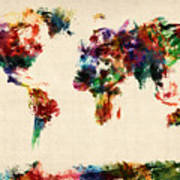 Map Of The World Map Abstract Painting Art Print by Michael Tompsett