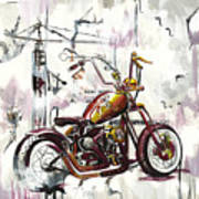Mapped Motorcycle Art Print