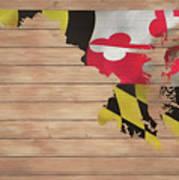 Maryland Rustic Map On Wood Art Print