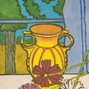 Mccoy Vase With Cosmos Art Print