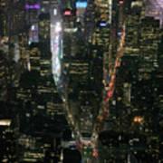 Midtown West Manhattan Skyline Aerial At Night Art Print