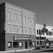 Miles City, Montana - Downtown 2 Bw Art Print