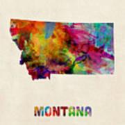 Montana Watercolor Map Art Print