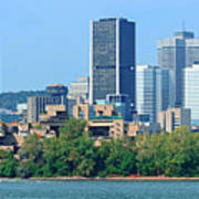 Montreal City Skyline Over River Panorama Art Print