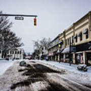 Moresville North Carolina Streets Covered In Snow Art Print
