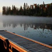 Morning Mist Over Lynx Lake In Northern Saskatchewan Art Print