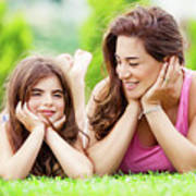 Mother With Daughter Outdoors Art Print