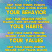 Motivational Quotes - Keep Your Words Positive - Ghandi Art Print