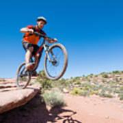 Mountain Biking The Porcupine Rim Trail Near Moab Art Print
