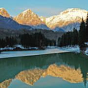 Mountain Reflections On Lago Di Barcis Art Print