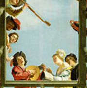 Musical Group On A Balcony Art Print