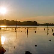 Mystical Sunrise On The Lake Art Print