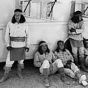 Native American Extras Dressed As Apache Warriors The High Chaparral Set Old Tucson Arizona 1969 Art Print