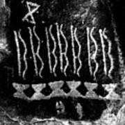 Native American Petroglyph On Sandstone Black And White Art Print