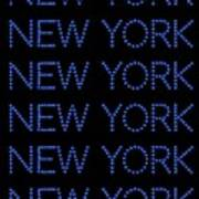 New York - Blue On Black Background Art Print