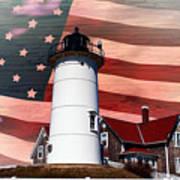 Nobska Lighthouse On American Flag Art Print