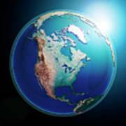 North America 3d Render Planet Earth Dark Space Art Print