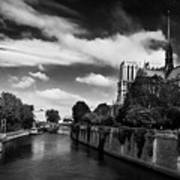 Notre Dame Cathedral And The River Seine - Paris Art Print