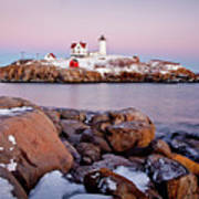 Nubble Winter Dusk Art Print