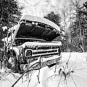 Old Abandoned Pickup Truck In The Snow Art Print