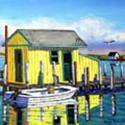 Old Crab Yellow Shacks Of Tangier Island Art Print