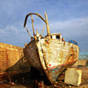 Old Dilapidated Wooden Boat  Art Print