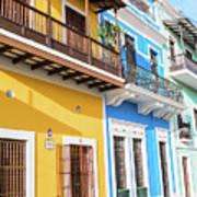 Old San Juan Houses In Historic Street In Puerto Rico Art Print