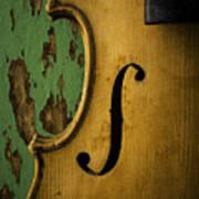 Old Violin Against Green Wall Art Print