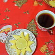 On The Eve Of Christmas. Tea Drinking With Cheese. Art Print