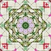 Orchids And Stone Wall Kaleidoscope 1764 Art Print