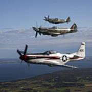 P-51 Cavalier Mustang With Supermarine Art Print