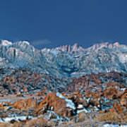 Panoramic Winter Morning Alabama Hills Eastern Sierras California Art Print