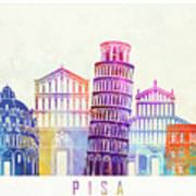 Barcelona Landmarks Watercolor Poster Art Print