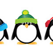 Penguins Isolated Print by Jane Rix
