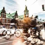 People Cycling In Copenhagen Art Print