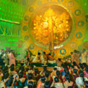 People Enjoying Inside Durga Puja Pandal Durga Puja Festival Art Print