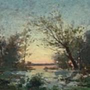 Per Ekstrom, French Landscape In Sunset. Art Print
