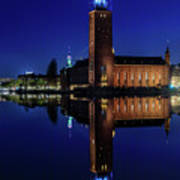 Perfect Stockholm City Hall Blue Hour Reflection Art Print