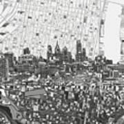 Philadelphia Skyline Map 4 Art Print