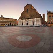 Piazza Maggiore And San Petronio Basilica In The Morning, Bologna, Emilia-romanga, Italy Art Print